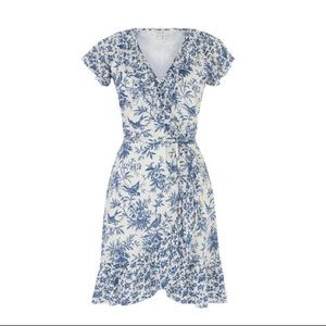 Oasis Patched Print Blue White Wrap Ruffle Dress